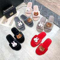 Sandal Rumah Selop Indoor / Sandal Import Hangat Lucu Empuk Anti Slip - Cream, S 36 37