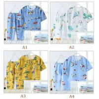 Setelan Piyama Anak Bahan Cotton Silk, Baju dan Celana 3/4 Summer Bayi