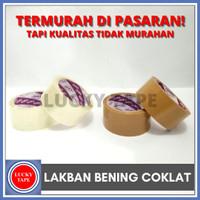"""LAKBAN BENING COKLAT 2"""" INCH 45MM 50 YARD ISOLASI MURAH SETARA DAIMARU - Bening"""