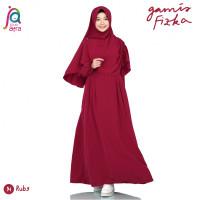 Gamis Syar'i Jilbab Afra Arfa Dress Fizka Ori Bahan Premium Crepe Ruby