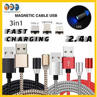 Kabel Data USB Magnetic 3in1 Nylon For Android IOS Fast Charging 2.4A