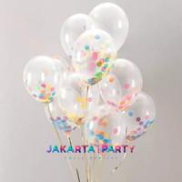 Balon Latex Confetti Rainbow / Balon Clear / Balon Transparan Confetti