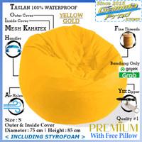 Bean Bag Pumpkin Taslan Outdoor Premium Termasuk Isi V3 Gojek Grab - Yellow Gold, S