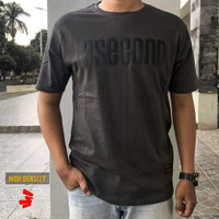 Kaos premium HD 3second Abu tua sablon flocking hitam