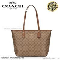 Coach Tote Bag Signature City Zip Tote Khaki Saddle - Original 100%