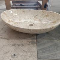 wastafel batu alam marmer oval 50cm