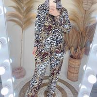 Setelan Celana Wanita Kekinian / Piyama / Set Mican / Motif Macan