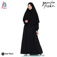 Gamis Syar'i Jilbab Afra Arfa Dress Fizka Ori Premium Crepe Real Black