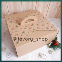 Cake Box 25 x 25 Brown Christmas/ Packaging Kue / Dus Kue Natal