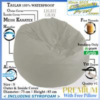 Bean Bag Pumpkin Taslan Outdoor Premium Termasuk Isi V1 Gojek Grab - Light Gray, S