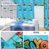 wallpaper stiker dinding motif tayo ukuran 45cm x 10mtr
