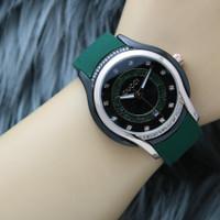 Jam tangan wanita new Gucci tanggal aktif tali rubber body hitam