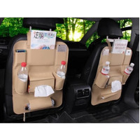 Premium Leather Car Seat Organizer Rak Mobil Rak Jok Mobil Rak Tissue - Hitam