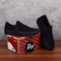 Sepatu Vans Slip On Full All Black Hitam Polos
