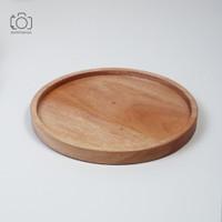 Piring Bulat List Siku / Wooden Plate / Tray Kayu / Properti Foto