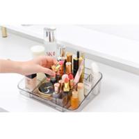 Rak Kosmetik Acrylic 2In1 Rak Lipstik Rak Rias Desktop Storage Make Up - Abu-abu