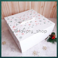 Cake Box 25 x 25 White Christmas/ Packaging Kue / Dus Kue Natal
