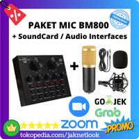 Paket Microphone BM800 / BM-800 with Sound Card Audio Interface V8