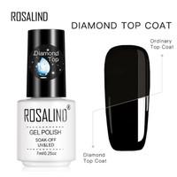 ROSALIND Diamond Top Coat (EFEK LEBIH GLOSSY) top gel polish no wipe