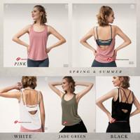 Tanktop Olahraga Wanita /Yoga Vest Backless - BLACK, S