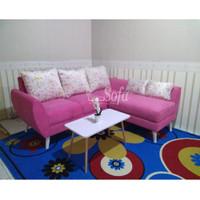 Sofa Ruang Tamu Retro L Putus Mini + Meja Scandinavian Mini