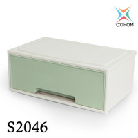 Oxihom S2046 1 Laci Plastik Susun Drawer Storage Stackable Organizer - Green