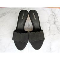 High Heels Morissett (MH710) Sandal Hak Lancip Peep Toes Hitam (7 Cm)