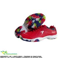 Sepatu Badminton Bulutangkis Flypower Losari 3 Red Original