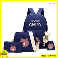 (Free Boneka) Tas Sekolah Anak SD Cowok Cewek - 4 in 1 - Brown Chips - Biru Navy