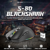NYK S-80 BLACK SHARK Mouse Gaming Wireless + Wired (RECHARGEABLE)