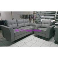 Sofa 31 Seater Minang Tgn Retro Minimalis + Stool Bulat - Biru