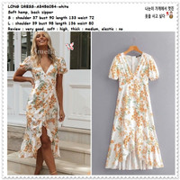 AB456054 Summer Long Dress Midi Pesta Pantai Wanita Korea Import Putih