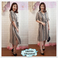 AB52969C Midi Mini Dress Kemeja Garis Etnik Korea Bangkok Import