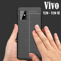 VIVO V20 / V20 SE AutoFocus Leather Texture Soft Case Cover Silicone
