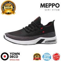 MEPPO - SEPATU SNEAKERS RUNNING OLAHRAGA SPORT CASUAL PRIA IMPORT - Hitam, 39