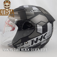 Helm Half Face Nhk R6 Cube Black Silver Doff Matte Dop Hitam Corak - L, Kaca Clear