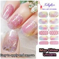 Sticker kuku glitter unicorn Nail art sticker miss glitter unicorn