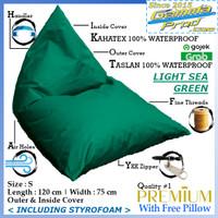 Bean Bag Triangle Taslan Outdoor Premium Termasuk Isi V2 Gojek Grab - Light Sea Green, S