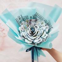 Money Bouquet / Kado Ulangtahun Buket Uang Mawar 1juta MB1020 - Biru