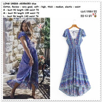 AB356053 Summer Long Dress Maxi Boho Pesta Pantai Wanita Korea Import