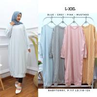 Stripe long tunik jumbo warna pink