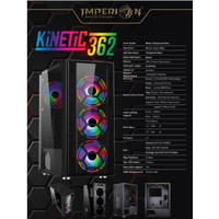 Pc case gaming imperion kinetic 362 tempered glass - Casing komputer
