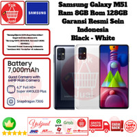 Samsung Galaxy M51 8GB/128GB M 51 8/128 GB Resmi SEIN Black White
