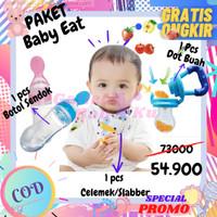 Paket Perlengkapan Makan Dot Empeng Celemek Slabber Botol Sendok Bayi