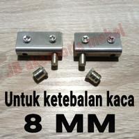 ENGSEL JEPIT KACA 8 mm STAINLESS STEEL / PIVOT KACA 8mm STAINLES