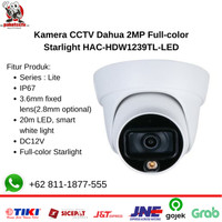 Kamera CCTV Dahua 2MP Full-color Starlight HAC-HDW1239TL-LED - Indoor