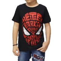 Kaos Anak Karakter Spiderman Peter Parker Hitam / T-shirt Spiderman - S, SUPERHERO