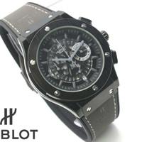 Jam tangan pria hublost kulit crono&tanggal aktif case black