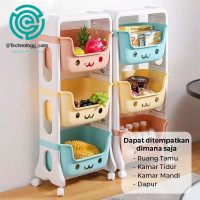 rak penyimpanan mainan anak majalah buku makanan/rak 3 susun serbaguna