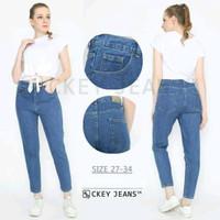 Celana Jeans Boyfriend High waist - Biru tua, 28